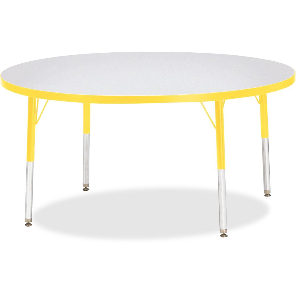 """Berries Elementary Height Color Edge Round Table - Yellow Round Top - Four Leg Base - 4 Legs - 1.13"""" Table Top Thickness x 48"""" Table Top Diameter - 24"""" Height - Assembly Required - Freckled Gray Lamin. Picture 1"""