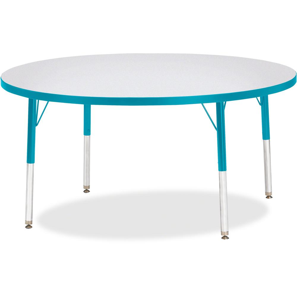 """Berries Elementary Height Color Edge Round Table - Teal Round Top - Four Leg Base - 4 Legs - 1.13"""" Table Top Thickness x 48"""" Table Top Diameter - 24"""" Height - Assembly Required - Freckled Gray Laminat. Picture 1"""