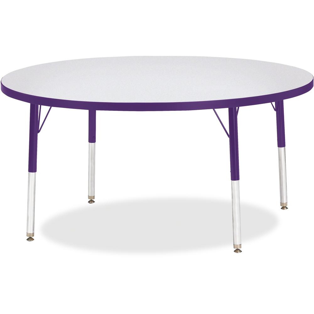 "Berries Elementary Height Color Edge Round Table - Purple Round Top - Four Leg Base - 4 Legs - 1.13"" Table Top Thickness x 48"" Table Top Diameter - 24"" Height - Assembly Required - Freckled Gray Lamin. Picture 1"