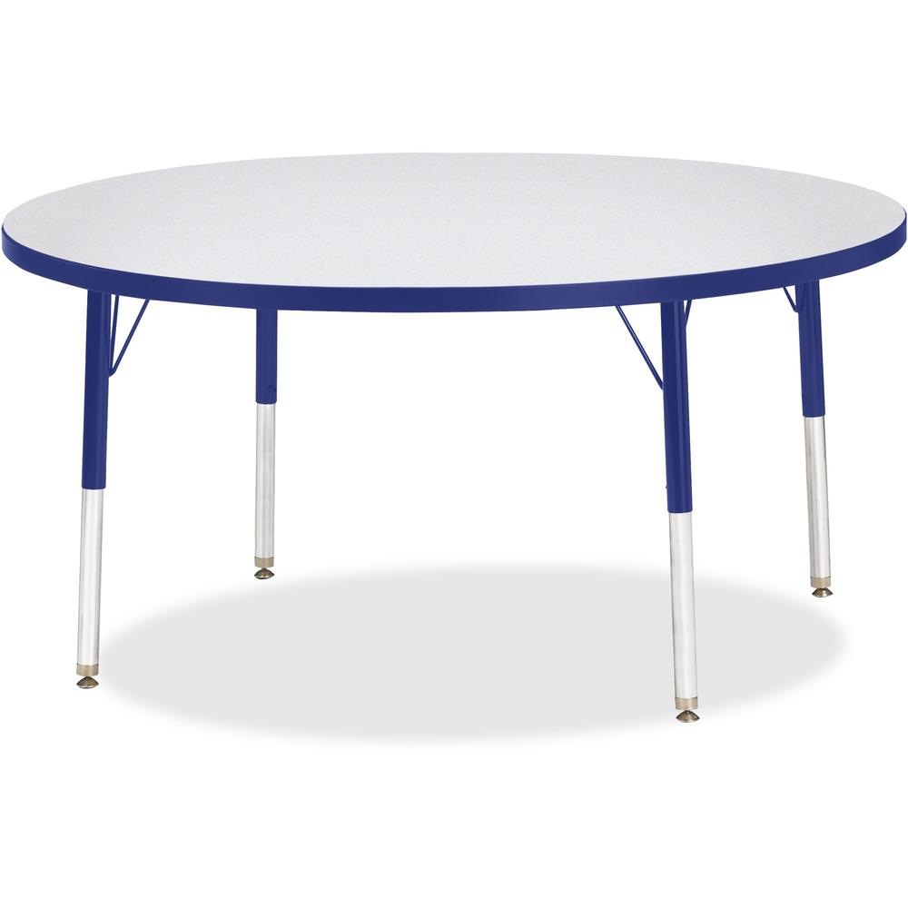 "Berries Elementary Height Color Edge Round Table - Blue Round Top - Four Leg Base - 4 Legs - 1.13"" Table Top Thickness x 48"" Table Top Diameter - 24"" Height - Assembly Required - Freckled Gray Laminat. Picture 1"