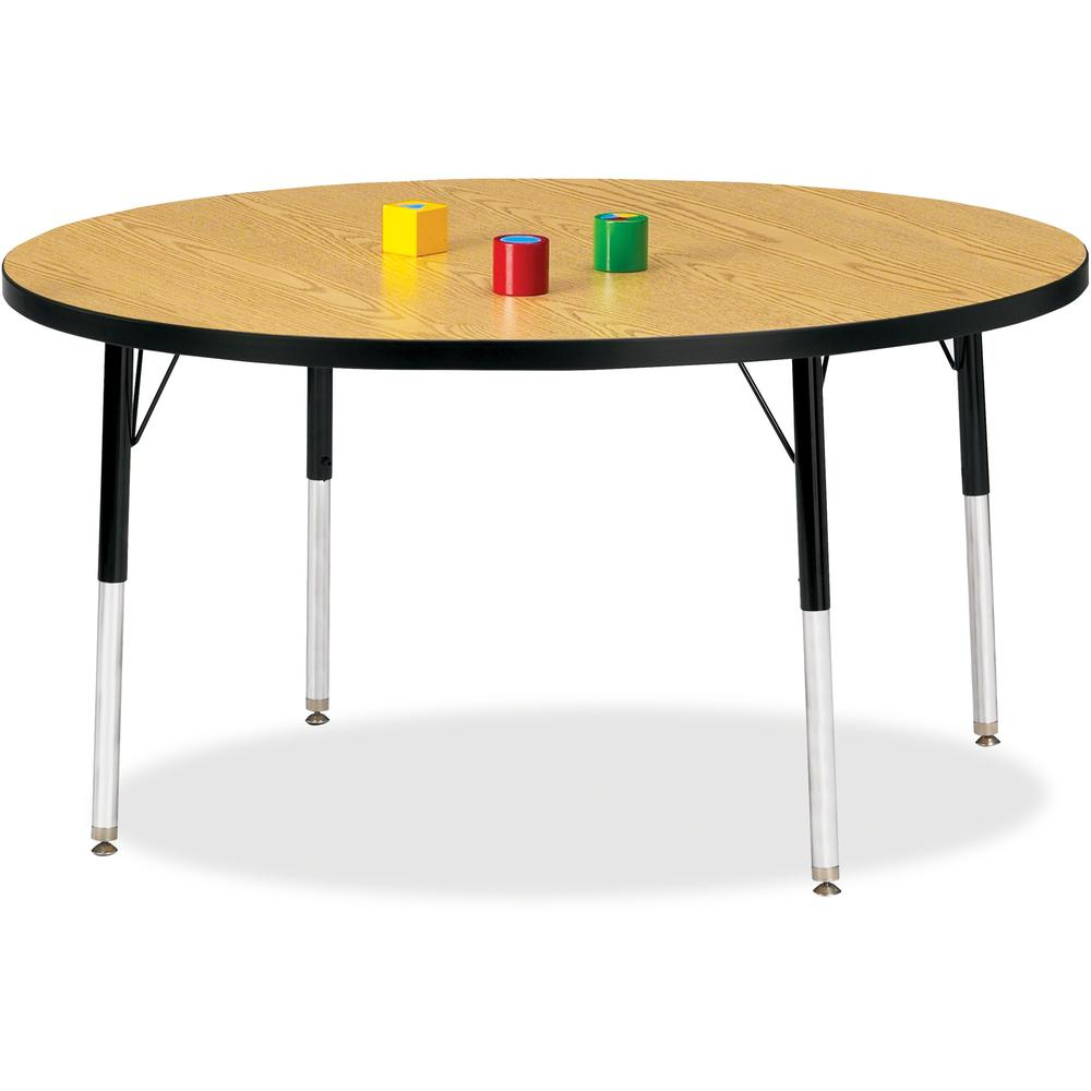 "Berries Adult Height Color Top Round Table - Black Oak Round, Laminated Top - Four Leg Base - 4 Legs - 1.13"" Table Top Thickness x 48"" Table Top Diameter - 31"" Height - Assembly Required - Powder Coat"