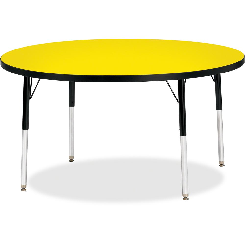 "Berries Adult Height Color Top Round Table - Laminated Round, Yellow Top - Four Leg Base - 4 Legs - 1.13"" Table Top Thickness x 48"" Table Top Diameter - 31"" Height - Assembly Required - Powder Coated. Picture 1"