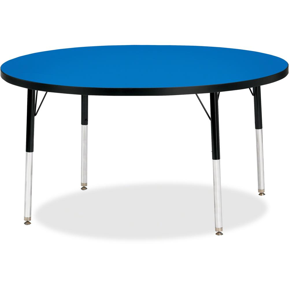 "Berries Adult Height Color Top Round Table - Blue Round, Laminated Top - Four Leg Base - 4 Legs - 1.13"" Table Top Thickness x 48"" Table Top Diameter - 31"" Height - Assembly Required - Powder Coated. Picture 1"