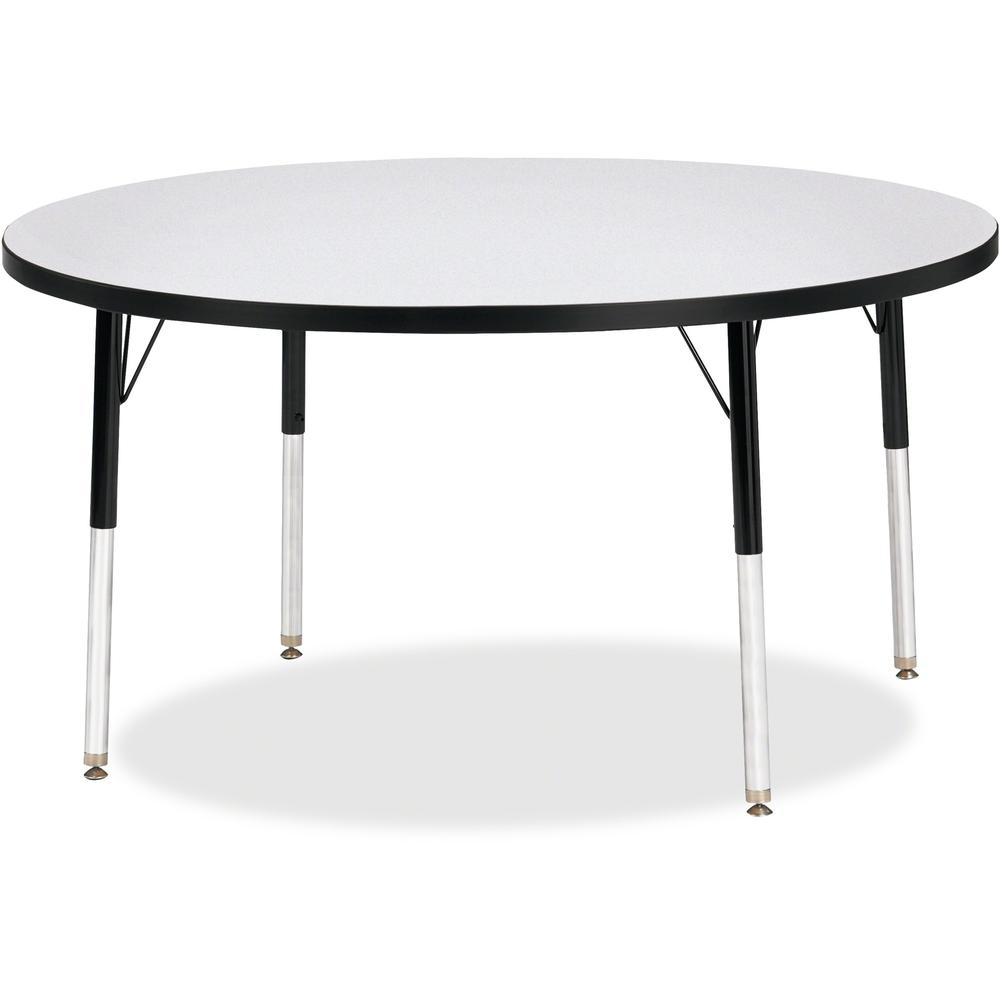 "Berries Adult Height Color Edge Round Table - Black Round, Laminated Top - Four Leg Base - 4 Legs - 1.13"" Table Top Thickness x 48"" Table Top Diameter - 31"" Height - Assembly Required - Powder Coated. Picture 1"