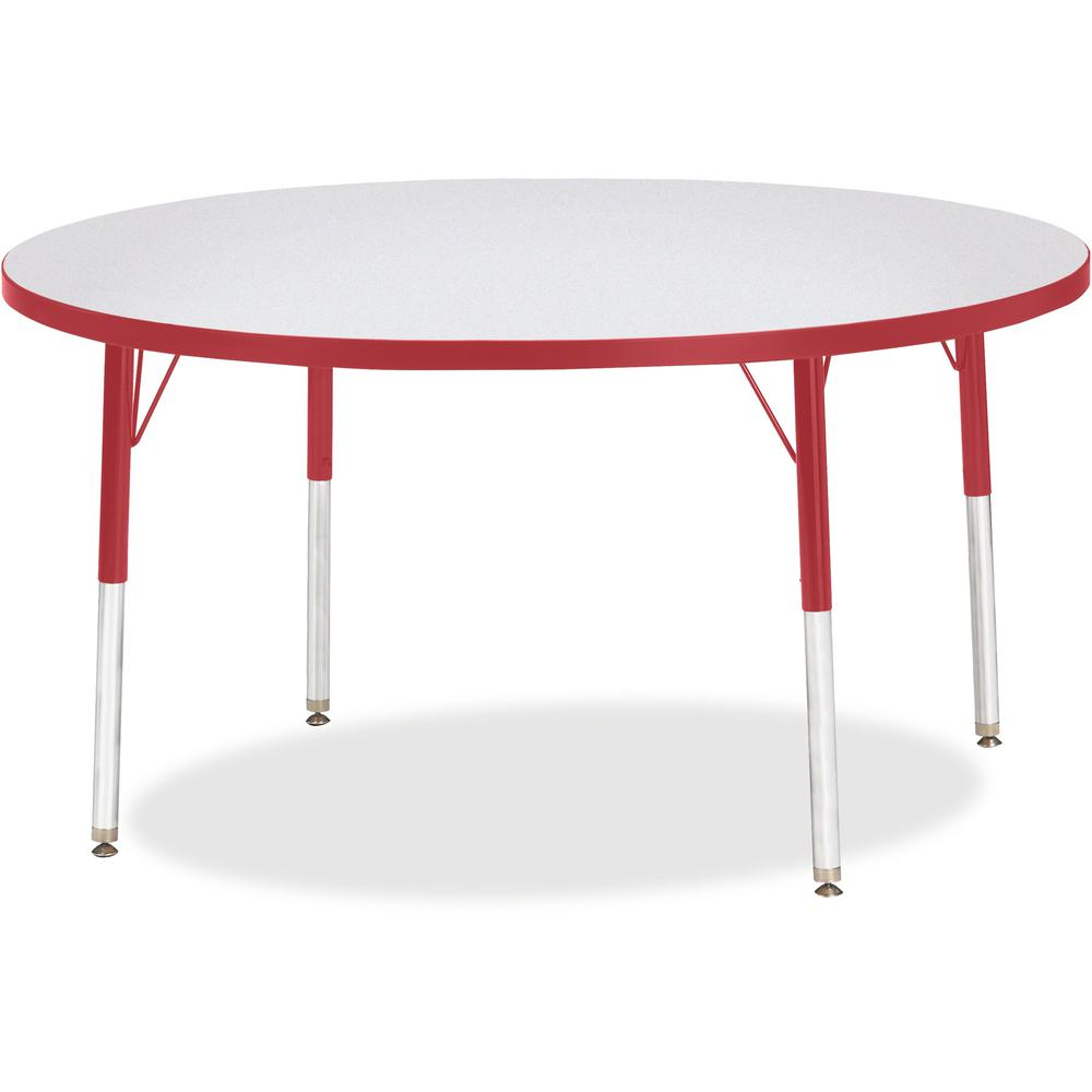 "Jonti-Craft Berries Adult Height Color Edge Round Table - Laminated Round, Red Top - Four Leg Base - 4 Legs - 1.13"" Table Top Thickness x 48"" Table Top Diameter - 31"" Height - Assembly Required - Powd. Picture 1"