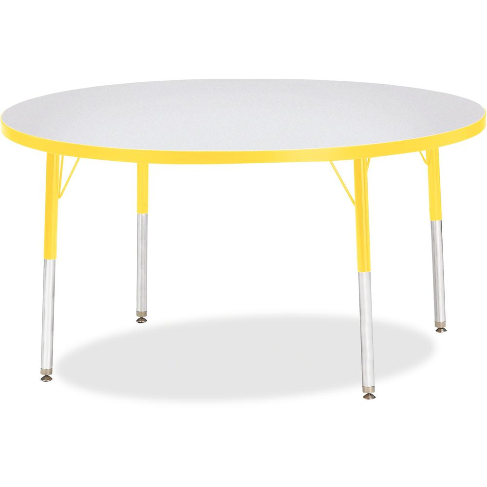"Berries Adult Height Color Edge Round Table - Laminated Round, Yellow Top - Four Leg Base - 4 Legs - 1.13"" Table Top Thickness x 48"" Table Top Diameter - 31"" Height - Assembly Required - Powder Coated. Picture 1"