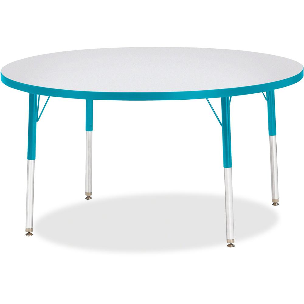 "Jonti-Craft Berries Adult Height Color Edge Round Table - Laminated Round, Teal Top - Four Leg Base - 4 Legs - 1.13"" Table Top Thickness x 48"" Table Top Diameter - 31"" Height - Assembly Required - Pow. Picture 1"