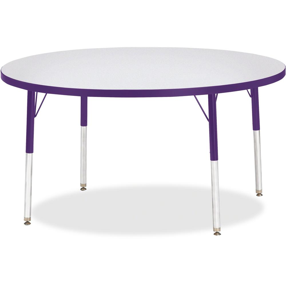 """Berries Adult Height Color Edge Round Table - Laminated Round, Purple Top - Four Leg Base - 4 Legs - 1.13"""" Table Top Thickness x 48"""" Table Top Diameter - 31"""" Height - Assembly Required - Powder Coated. Picture 1"""