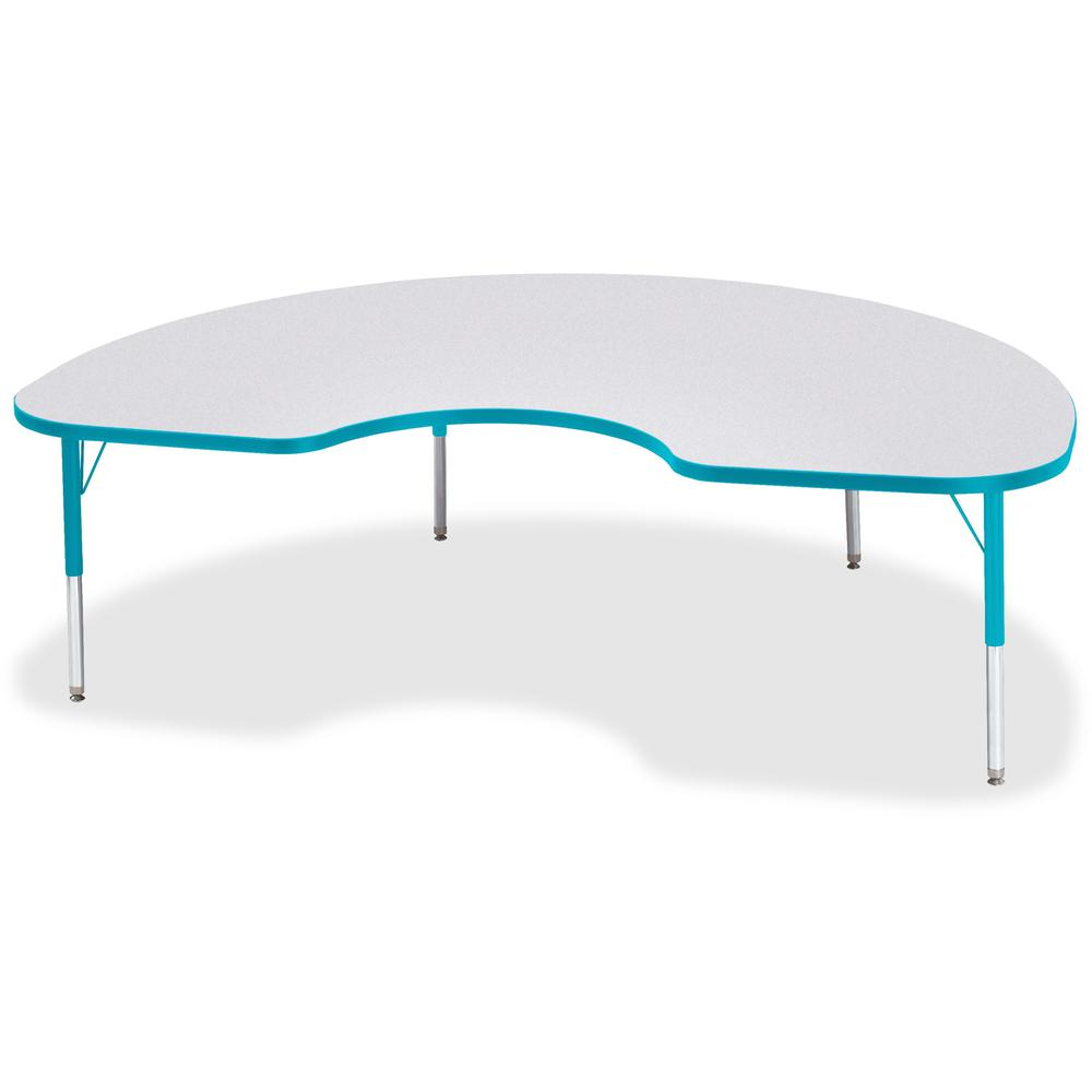 """Berries Toddler Height Color Edge Kidney Table - Laminated Kidney-shaped, Teal Top - Four Leg Base - 4 Legs - 72"""" Table Top Length x 48"""" Table Top Width x 1.13"""" Table Top Thickness - 15"""" Height - Asse. Picture 1"""