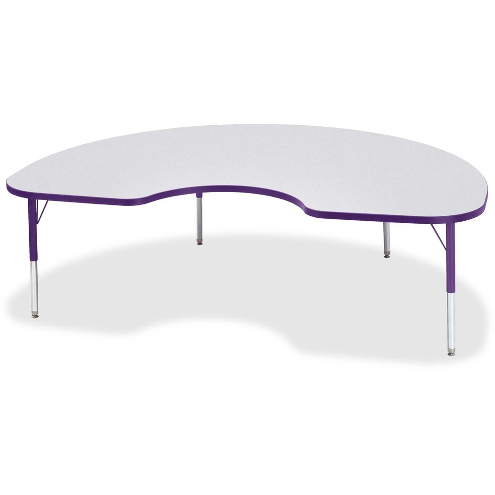 "Berries Toddler Height Color Edge Kidney Table - Laminated Kidney-shaped, Purple Top - Four Leg Base - 4 Legs - 72"" Table Top Length x 48"" Table Top Width x 1.13"" Table Top Thickness - 15"" Height - As. Picture 1"
