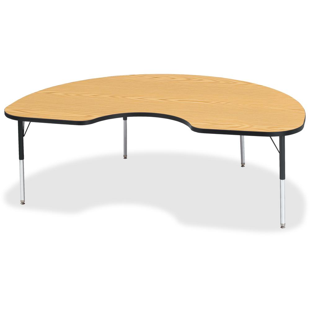 """Berries Elementary Height Color Top Kidney Table - Black Oak Kidney-shaped, Laminated Top - Four Leg Base - 4 Legs - 72"""" Table Top Length x 48"""" Table Top Width x 1.13"""" Table Top Thickness - 24"""" Height. Picture 1"""