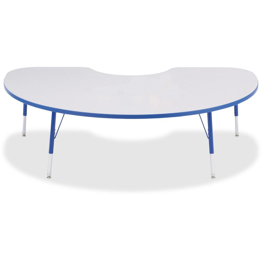 "Berries Toddler Height Color Edge Kidney Table - Blue Kidney-shaped, Laminated Top - Four Leg Base - 4 Legs - 72"" Table Top Length x 48"" Table Top Width x 1.13"" Table Top Thickness - 15"" Height - Asse. Picture 1"