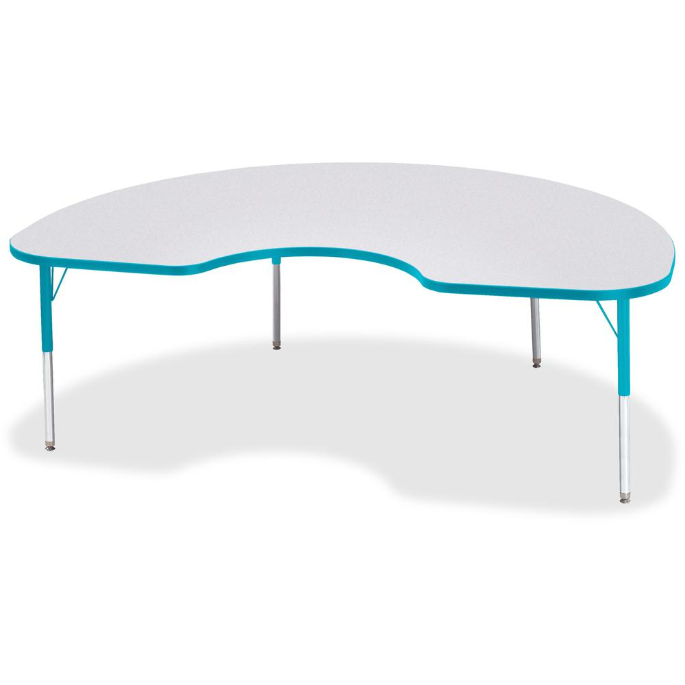 """Berries Elementary Height Color Edge Kidney Table - Laminated Kidney-shaped, Teal Top - Four Leg Base - 4 Legs - 72"""" Table Top Length x 48"""" Table Top Width x 1.13"""" Table Top Thickness - 24"""" Height - A. Picture 1"""