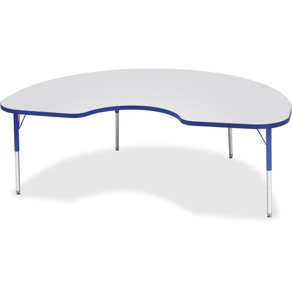 """Berries Elementary Height Color Edge Kidney Table - Gray Kidney-shaped, Laminated Top - Four Leg Base - 4 Legs - 72"""" Table Top Length x 48"""" Table Top Width x 1.13"""" Table Top Thickness - 24"""" Height - A. Picture 1"""