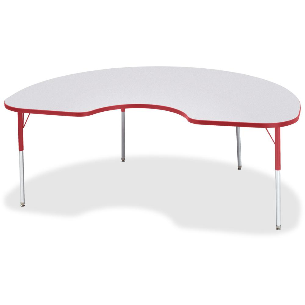 "Berries Adult Height Prism Color Edge Kidney Table - Laminated Kidney-shaped, Red Top - Four Leg Base - 4 Legs - 72"" Table Top Length x 48"" Table Top Width x 1.13"" Table Top Thickness - 31"" Height - A. Picture 1"