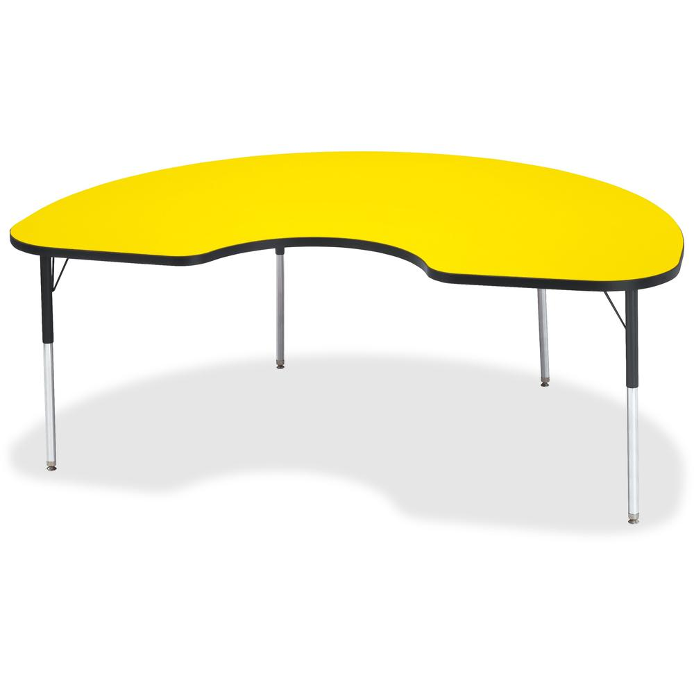 """Jonti-Craft Berries Adult Color Top Kidney Table - Laminated Kidney-shaped, Yellow Top - Four Leg Base - 4 Legs - 72"""" Table Top Length x 48"""" Table Top Width x 1.13"""" Table Top Thickness - 31"""" Height - . Picture 1"""