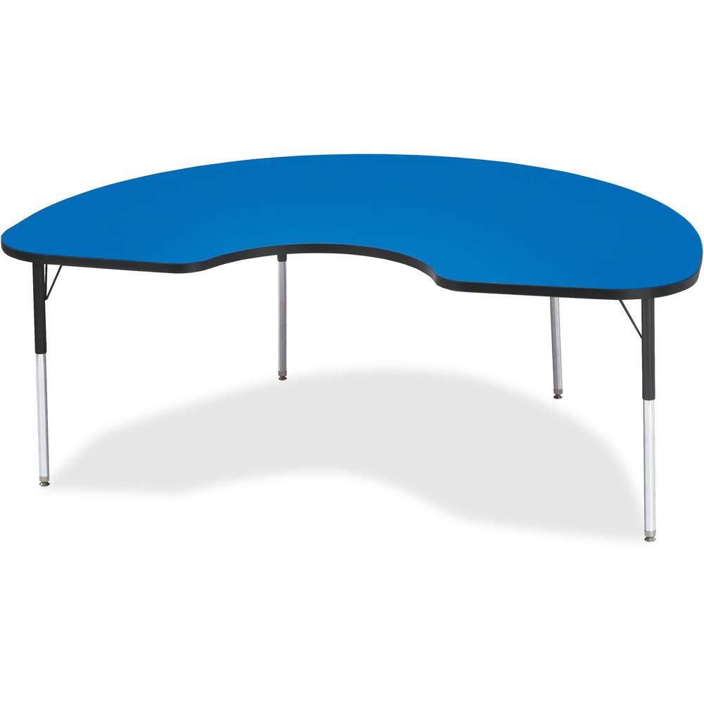 """Berries Adult Height Prism Color Edge Kidney Table - Blue Kidney-shaped, Laminated Top - Four Leg Base - 4 Legs - 72"""" Table Top Length x 48"""" Table Top Width x 1.13"""" Table Top Thickness - 31"""" Height - . Picture 1"""