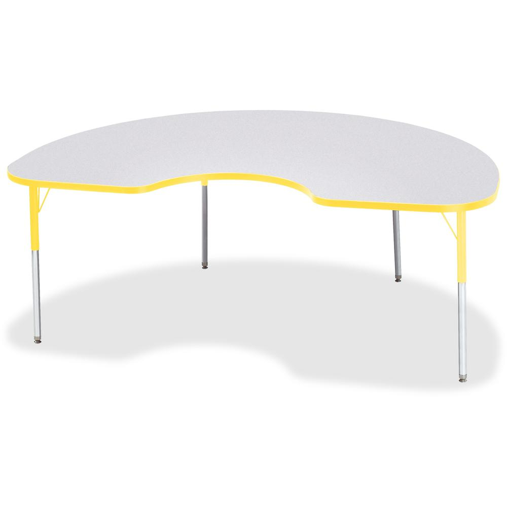 """Berries Adult Height Prism Color Edge Kidney Table - Laminated Kidney-shaped, Yellow Top - Four Leg Base - 4 Legs - 72"""" Table Top Length x 48"""" Table Top Width x 1.13"""" Table Top Thickness - 31"""" Height . Picture 1"""