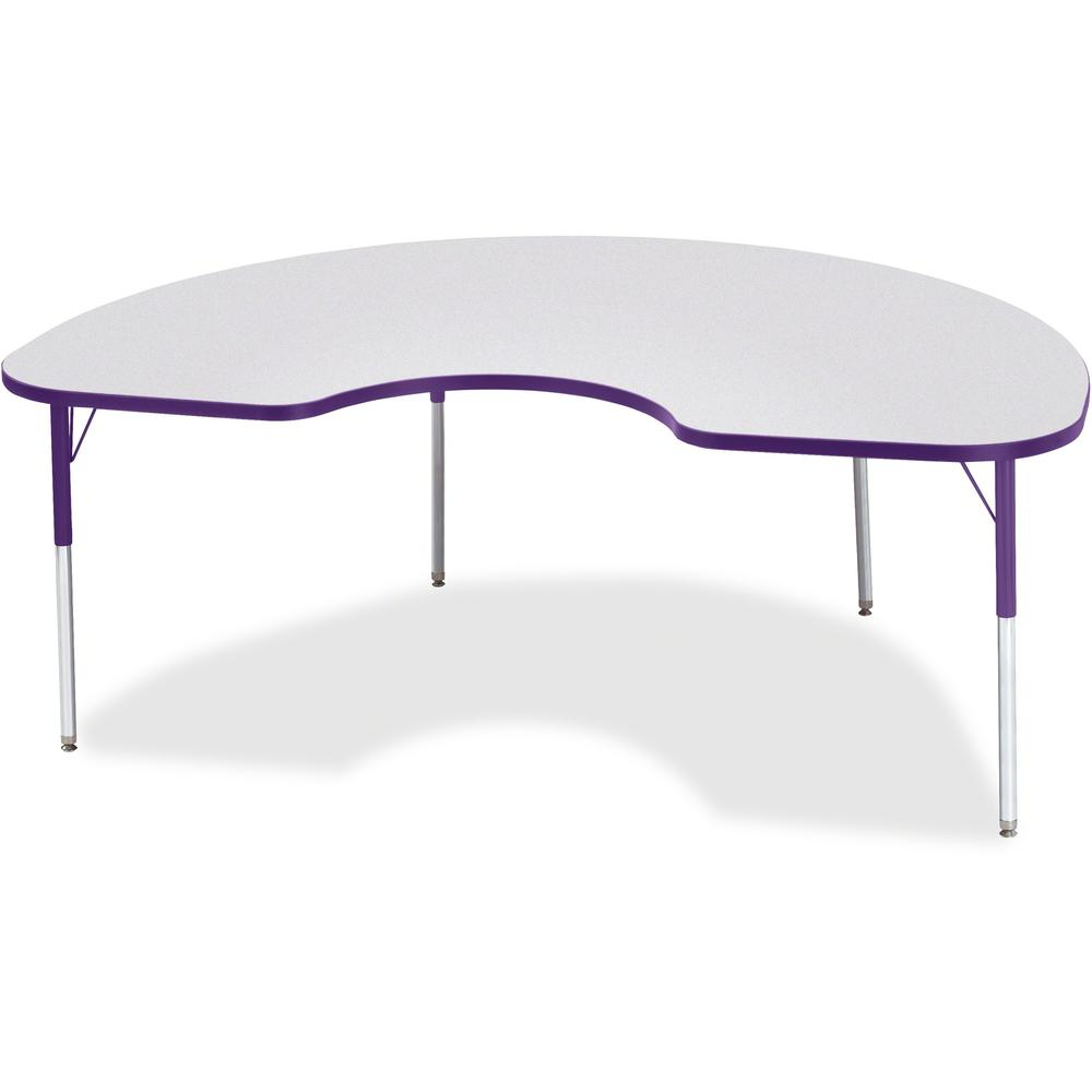 """Berries Adult Height Prism Color Edge Kidney Table - Gray Kidney-shaped, Laminated Top - Four Leg Base - 4 Legs - 72"""" Table Top Length x 48"""" Table Top Width x 1.13"""" Table Top Thickness - 31"""" Height - . Picture 1"""