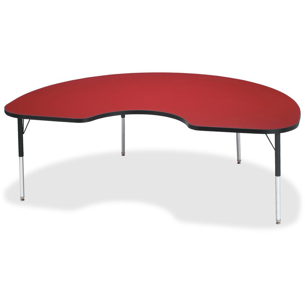 "Berries Elementary Height Color Top Kidney Table - Laminated Kidney-shaped, Red Top - Four Leg Base - 4 Legs - 72"" Table Top Length x 48"" Table Top Width x 1.13"" Table Top Thickness - 24"" Height - Ass. The main picture."