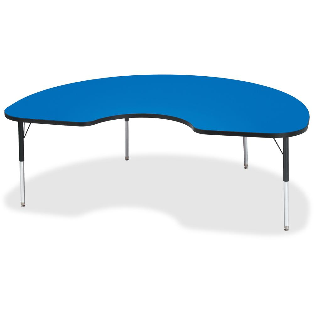 "Berries Elementary Height Color Top Kidney Table - Blue Kidney-shaped, Laminated Top - Four Leg Base - 4 Legs - 72"" Table Top Length x 48"" Table Top Width x 1.13"" Table Top Thickness - 24"" Height - As. Picture 1"
