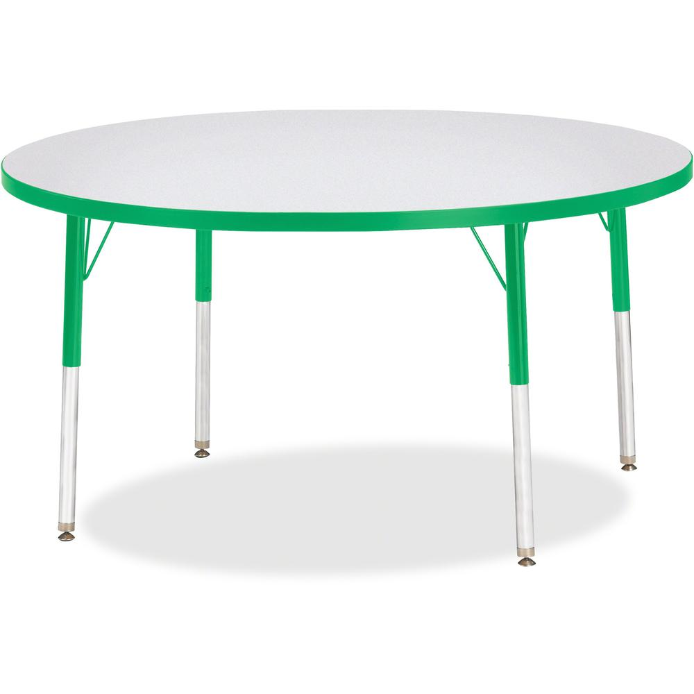 "Berries Adult Height Color Edge Round Table - Green Round, Laminated Top - Four Leg Base - 4 Legs - 1.13"" Table Top Thickness x 48"" Table Top Diameter - 31"" Height - Assembly Required - Powder Coated. Picture 1"