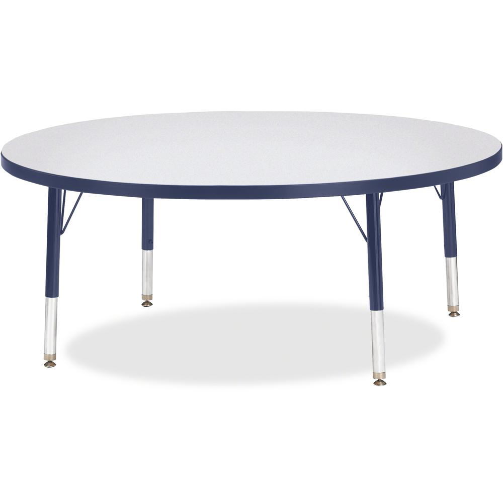 "Jonti-Craft Berries Toddler Height Color Edge Round Table - Laminated Round, Navy Top - Four Leg Base - 4 Legs - 1.13"" Table Top Thickness x 48"" Table Top Diameter - 15"" Height - Assembly Required - P. Picture 1"