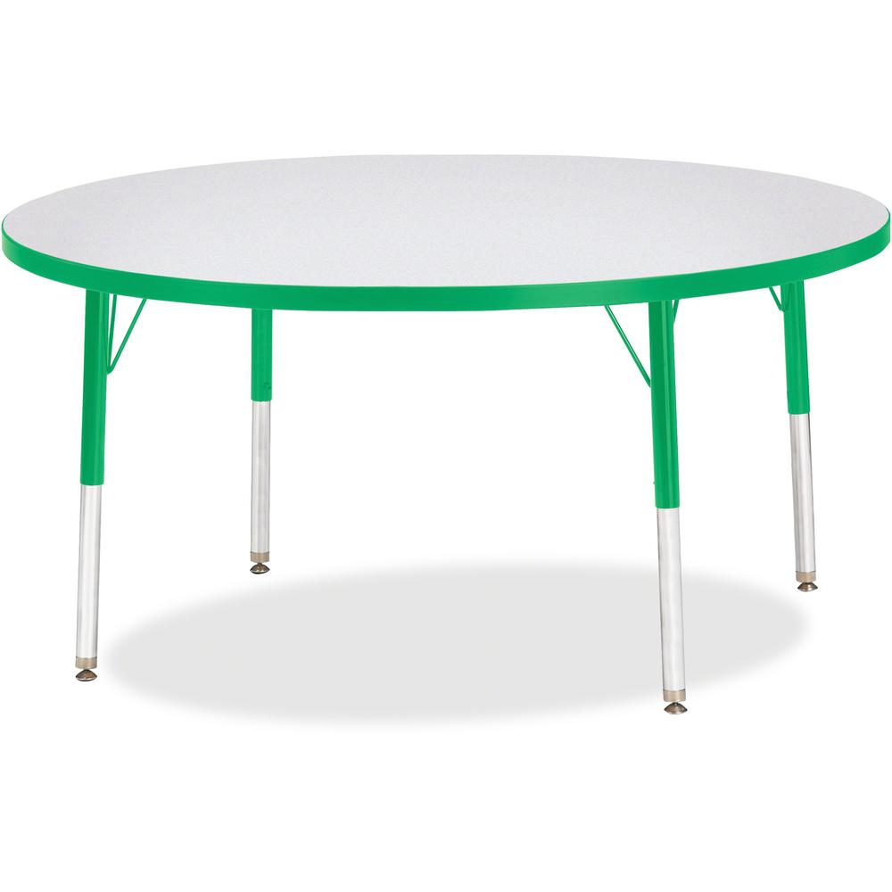 "Jonti-Craft Berries Elementary Height Color Edge Round Table - Green Round Top - Four Leg Base - 4 Legs - 1.13"" Table Top Thickness x 48"" Table Top Diameter - 24"" Height - Assembly Required - Freckled. Picture 1"