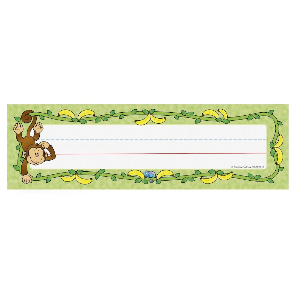 """Carson-Dellosa PreK-Grade 5 Student Nameplates - Learning Theme/Subject (Monkey) Shape - 0.31"""" Height x 2.88"""" Width x 9.50"""" Length - Multicolor - 36 / Pack. Picture 1"""