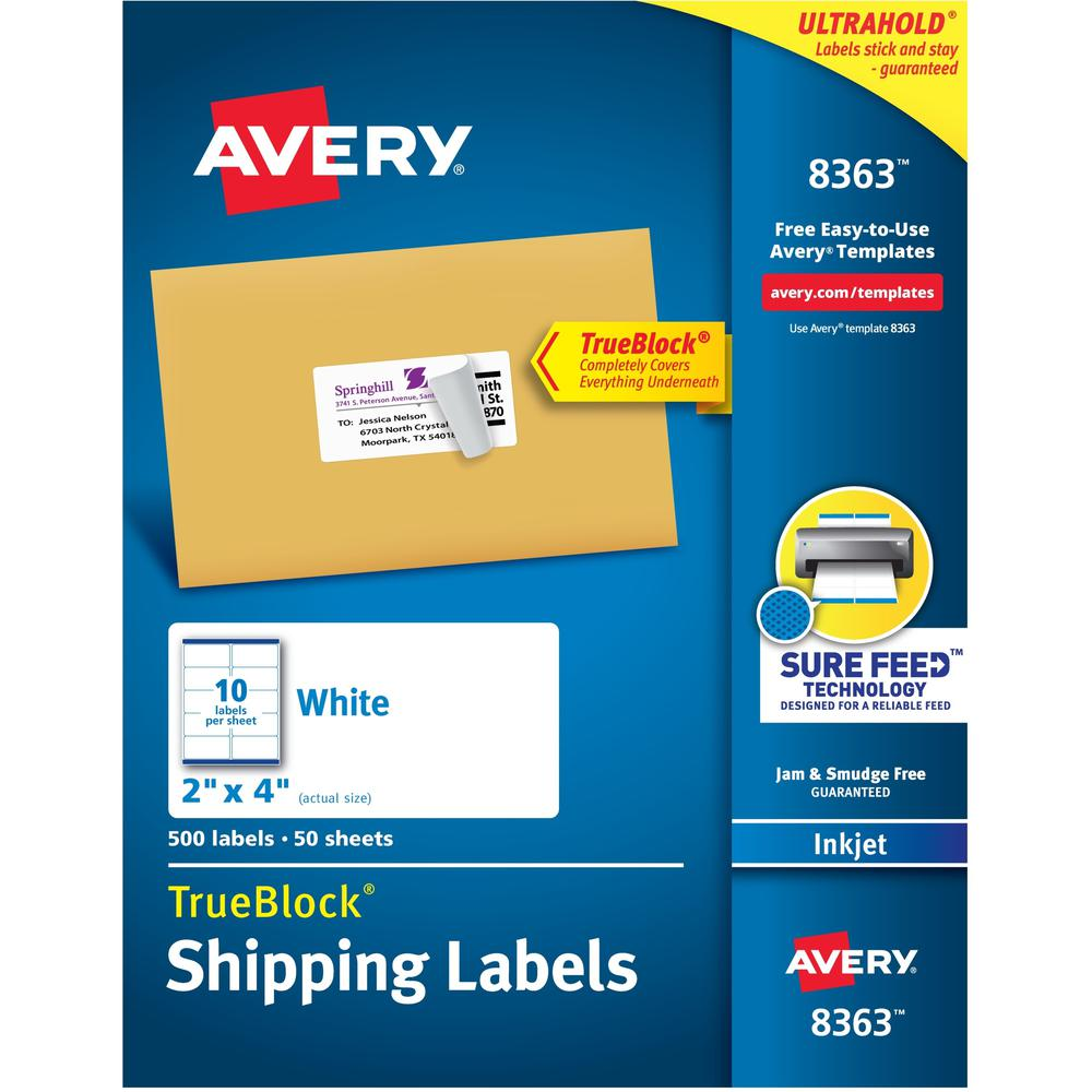"""Avery® 2""""x4"""" White Shipping Labels - Permanent Adhesive - Rectangle - Inkjet - White - Paper - 10 / Sheet - 50 Total Sheets - 500 Total Label(s) - 5. Picture 1"""