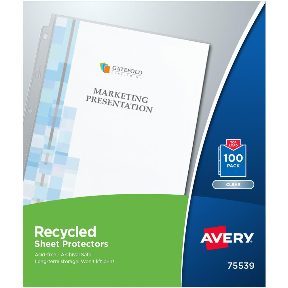"""Avery® Recycled Sheet Protectors - Acid-free, Archival-Safe, Top-Loading - 12"""" Height x 9.8"""" Width - For Letter 8 1/2"""" x 11"""" Sheet - 3 x Holes - Ring Binder - Top Loading - Clear - Polypropylene -. Picture 1"""