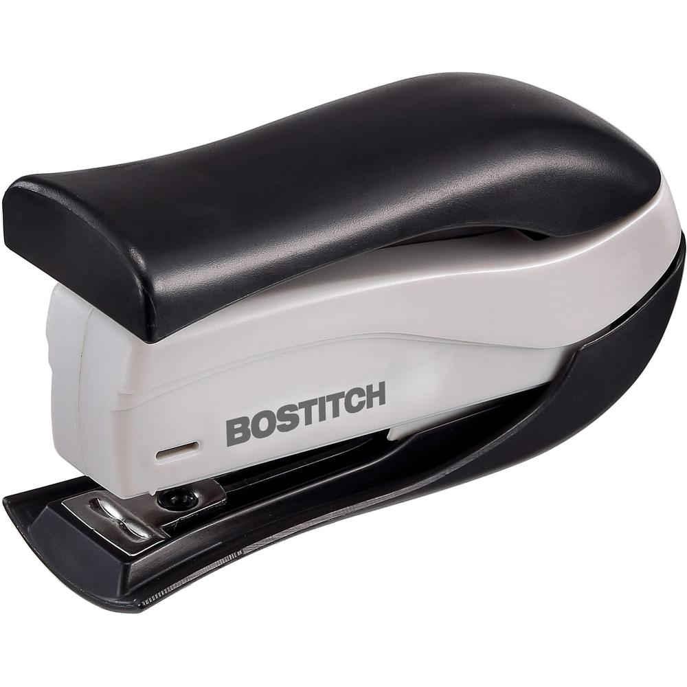 """Bostitch Spring-Powered 15 Handheld Compact Stapler, Black - 15 Sheets Capacity - 105 Staple Capacity - Half Strip - 1/4"""" Staple Size - Black, Gray. Picture 1"""