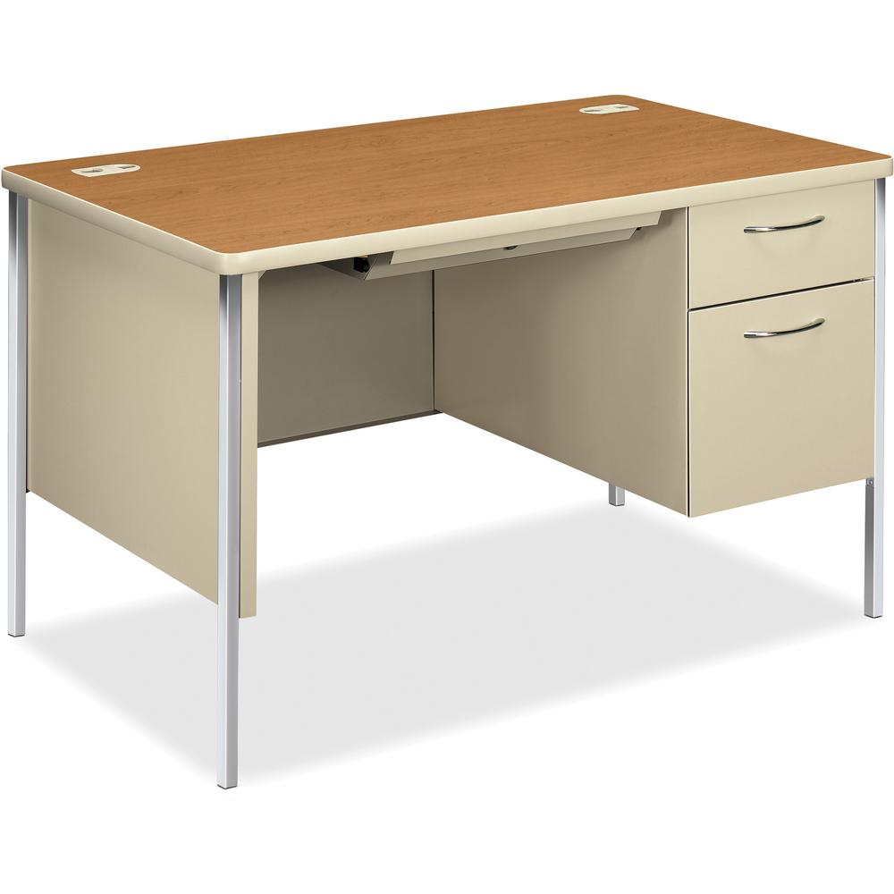 """HON Mentor Right Pedestal Desk, 48""""W - Laminated Top - 2 Drawers x 48"""" Table Top Width x 30"""" Table Top Depth x 1.13"""" Table Top Thickness - 29.50"""" Height - Assembly Required - Harvest. Picture 1"""
