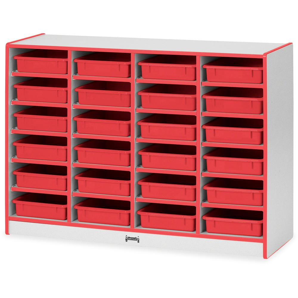 "Rainbow Accents Rainbow Mobile Paper-Tray Storage - 24 Compartment(s) - 35.5"" Height x 48"" Width x 15"" Depth - Red - Rubber - 1Each. Picture 1"