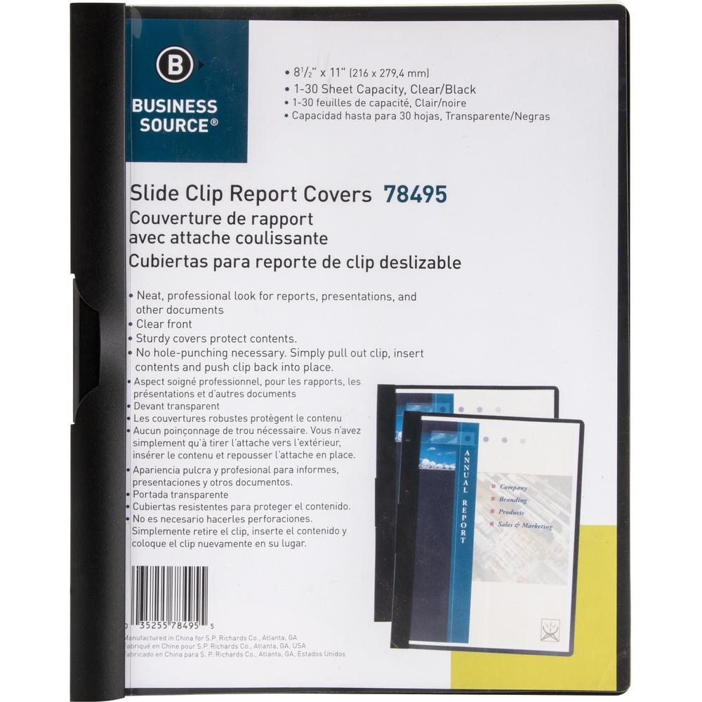 """Business Source Letter Report Cover - 8 1/2"""" x 11"""" - 30 Sheet Capacity - Vinyl - Black - 1 Each. Picture 1"""