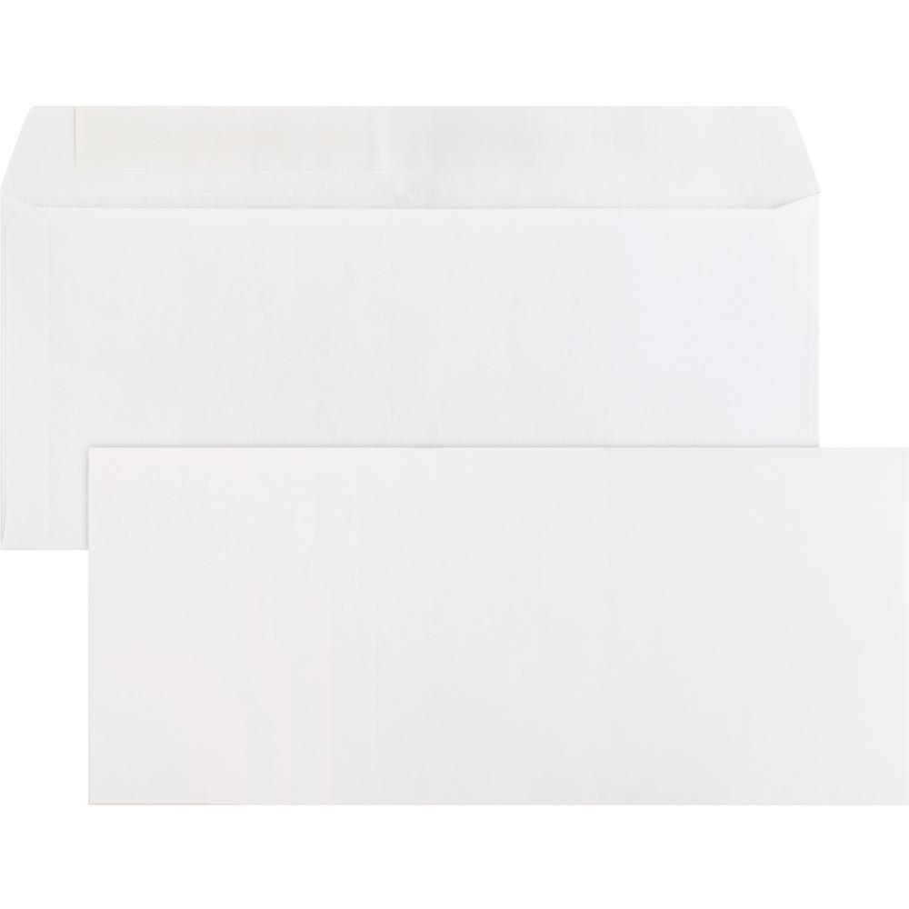 "Business Source Plain Peel/Seal Business Envelopes - Business - #10 - 9 1/2"" Width x 4 1/8"" Length - 24 lb - Peel & Seal - Wove - 500 / Box - White. Picture 1"