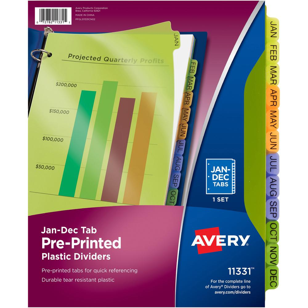 """Avery® Preprinted Monthly Tabs Plastic Dividers - 12 x Divider(s) - Jan-Dec - 12 Tab(s)/Set - 8.5"""" Divider Width x 11"""" Divider Length - 3 Hole Punched - Multicolor Plastic Divider - Multicolor Pla. Picture 1"""