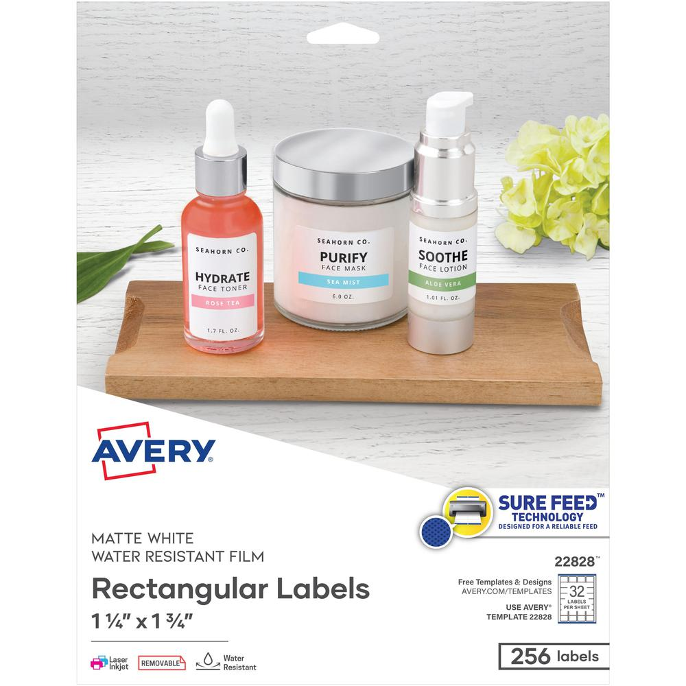 Avery® Removable Durable Rectangle Labels - Removable Adhesive - Rectangle - Laser, Inkjet - White - Polyester Film - 32 / Sheet - 8 Total Sheets - 256 Total Label(s) - 256 / Pack. Picture 1