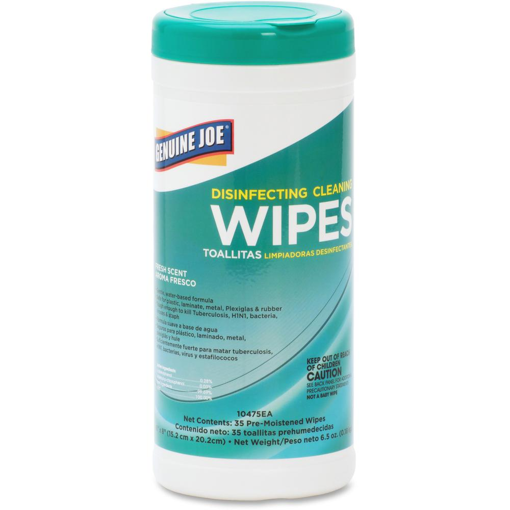 """Genuine Joe Fresh Scent Disinfecting Cleaning Wipes - Wipe - Fresh Scent - 6"""" Width x 8"""" Length - 35 / Canister - 6 / Carton - White. Picture 1"""