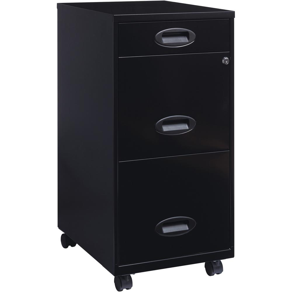 """Lorell SOHO 18"""" 3-Drawer File Cabinet - 14.3"""" x 18"""" x 27"""" - 3 x Drawer(s) for Accessories, File - Letter - Locking Drawer, Glide Suspension - Black - Baked Enamel - Plastic, Steel - Recycled - Assembl. Picture 1"""