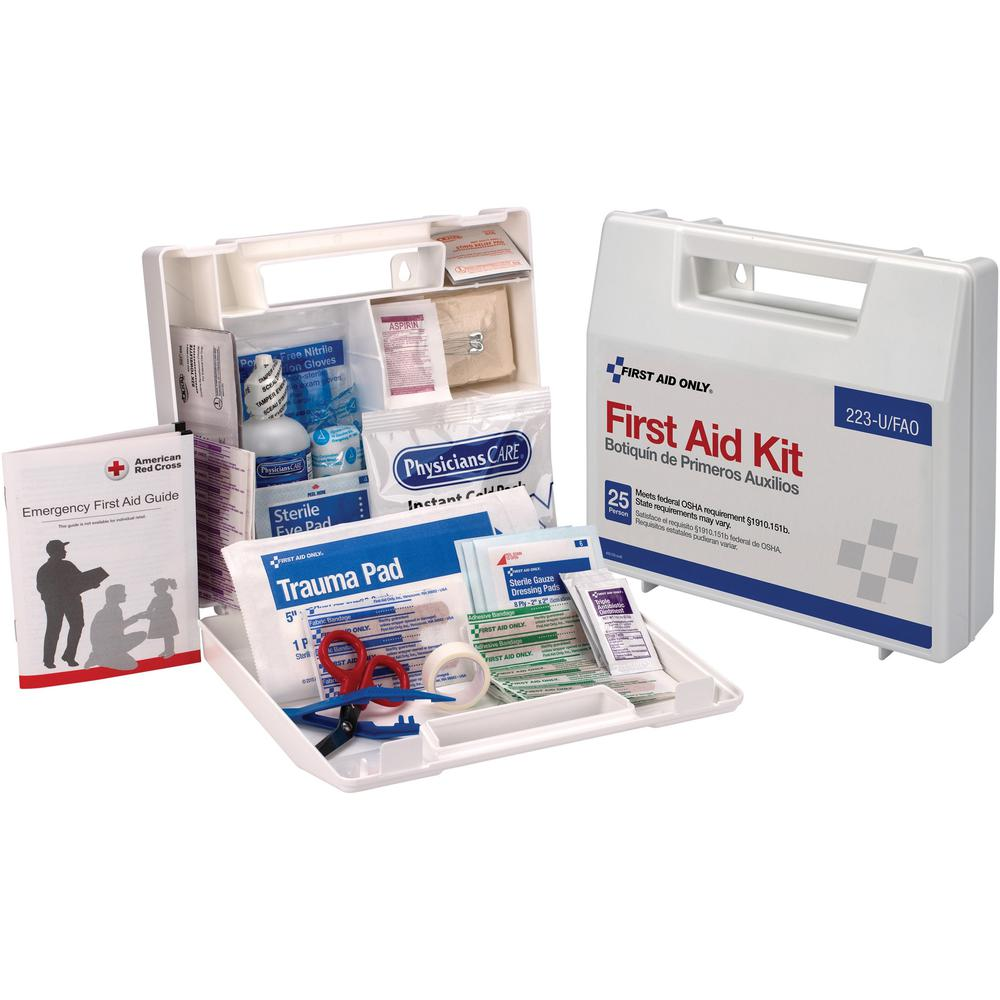 """First Aid Only 25 Person Bulk First Aid Kit - 107 x Piece(s) For 25 x Individual(s) - 2.5"""" Height x 8.4"""" Width x 9"""" Depth Length - Plastic Case - 1 Each. Picture 1"""