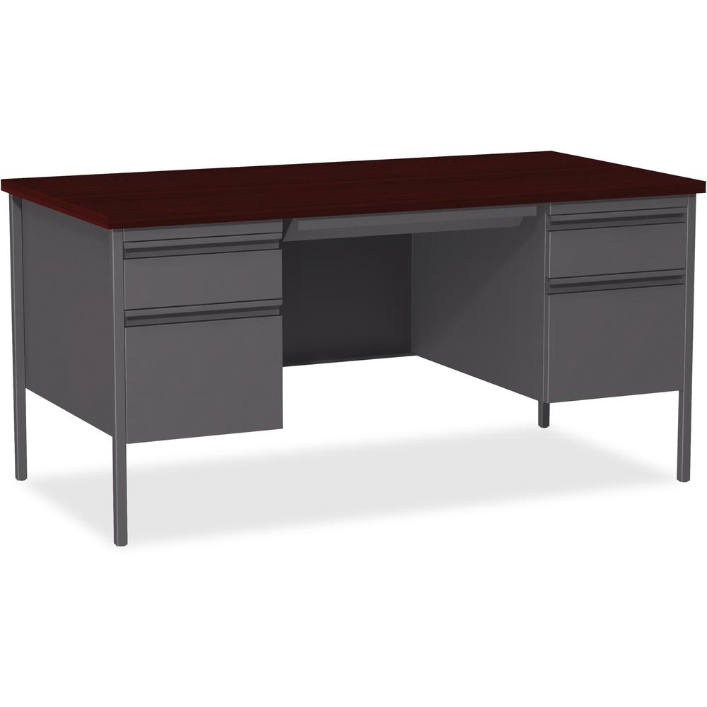 Lorell Fortress Series Double Pedestal Desk Rectangle