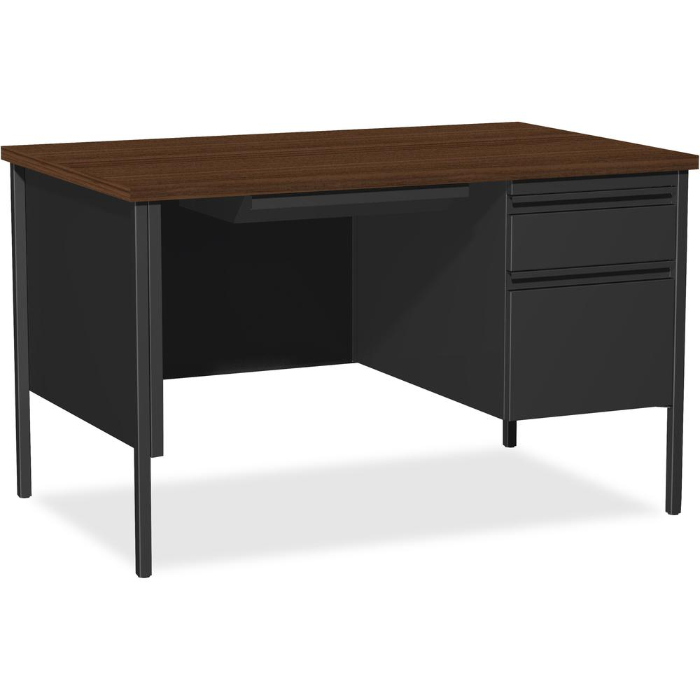 "Lorell Fortress Series 48"" Right Single-Pedestal Desk - Rectangle Top - 1 Pedestals - 30"" Table Top Length x 48"" Table Top Width x 1.13"" Table Top Thickness - 29.50"" Height - Assembly Required - Black"