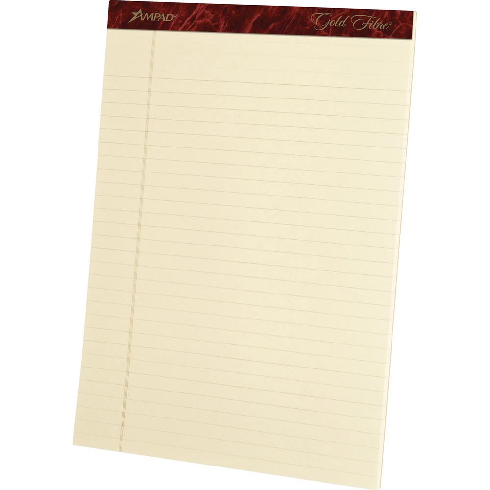"""Ampad Gold Fibre Legal Rule Retro Writing Pads - 50 Sheets - Wire Bound - 0.34"""" Ruled - 20 lb Basis Weight - 8 1/2"""" x 11 3/4"""" - Ivory Paper - Micro Perforated, Easy Tear, Chipboard Backing, Heavyweigh. Picture 1"""