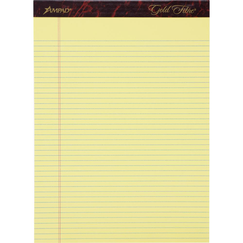 """Ampad Ampad Gold Fibre Narrow Rule Writing Pads - 50 Sheets - Watermark - Stapled/Glued - 0.25"""" Ruled - 16 lb Basis Weight - 8 1/2"""" x 11 3/4"""" - Canary Yellow Paper - Micro Perforated, Bleed-free, Chip. Picture 1"""