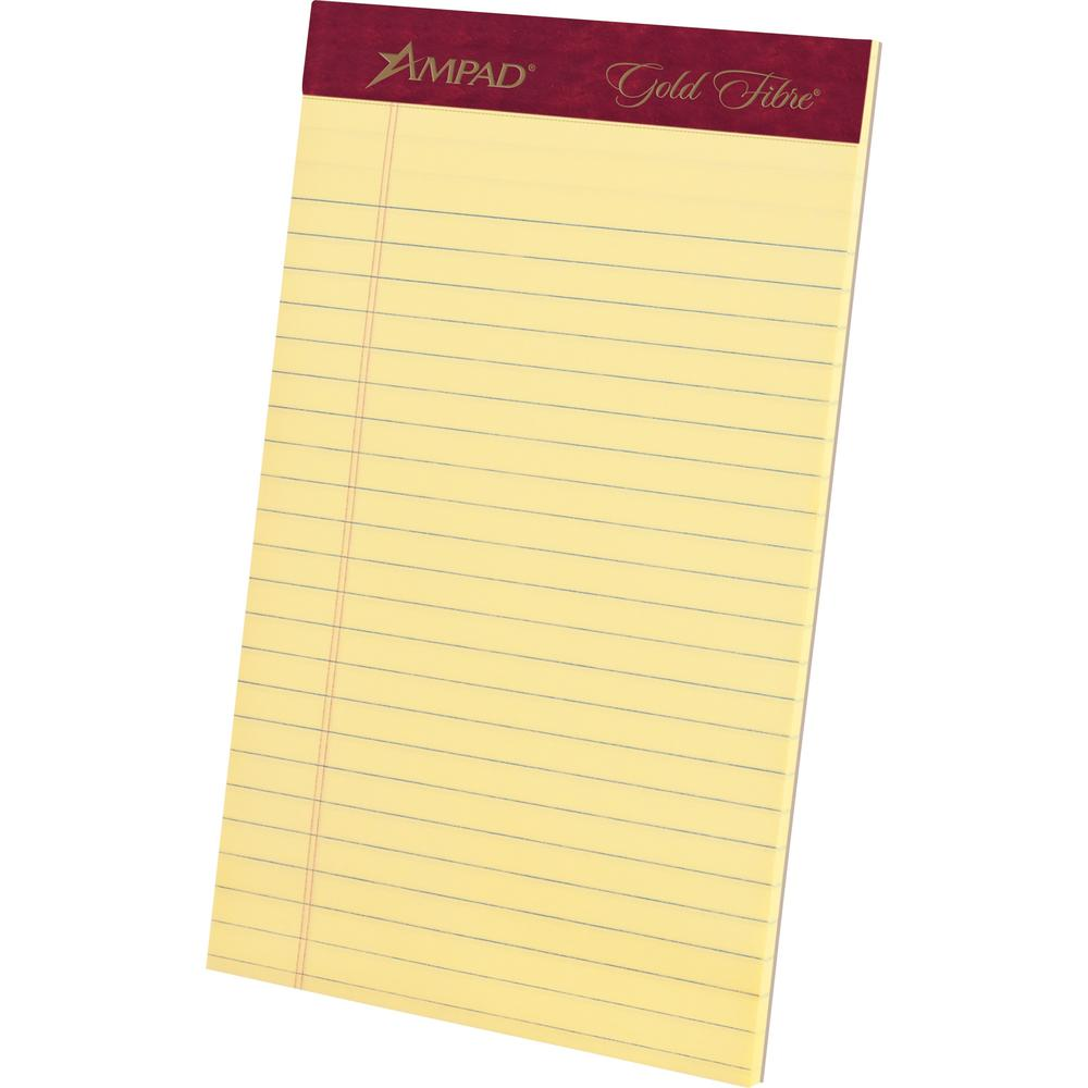 """TOPS Gold Fibre Premium Jr. Legal Writing Pads - 50 Sheets - Watermark - Stapled/Glued - 0.28"""" Ruled - 20 lb Basis Weight - 5"""" x 8"""" - Canary Paper - Bleed-free, Chipboard Backing, Micro Perforated - 4. Picture 1"""
