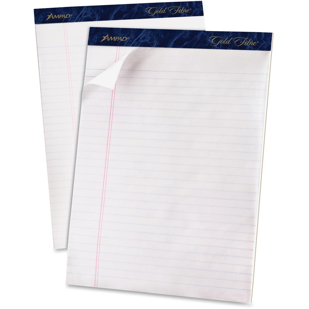 """TOPS Gold Fibre Ruled Perforated Writing Pads - Letter - 50 Sheets - Watermark - Stapled/Glued - 0.34"""" Ruled - 16 lb Basis Weight - 8 1/2"""" x 11"""" - Dark Blue Binder - Bleed-free, Micro Perforated, Chip. Picture 1"""