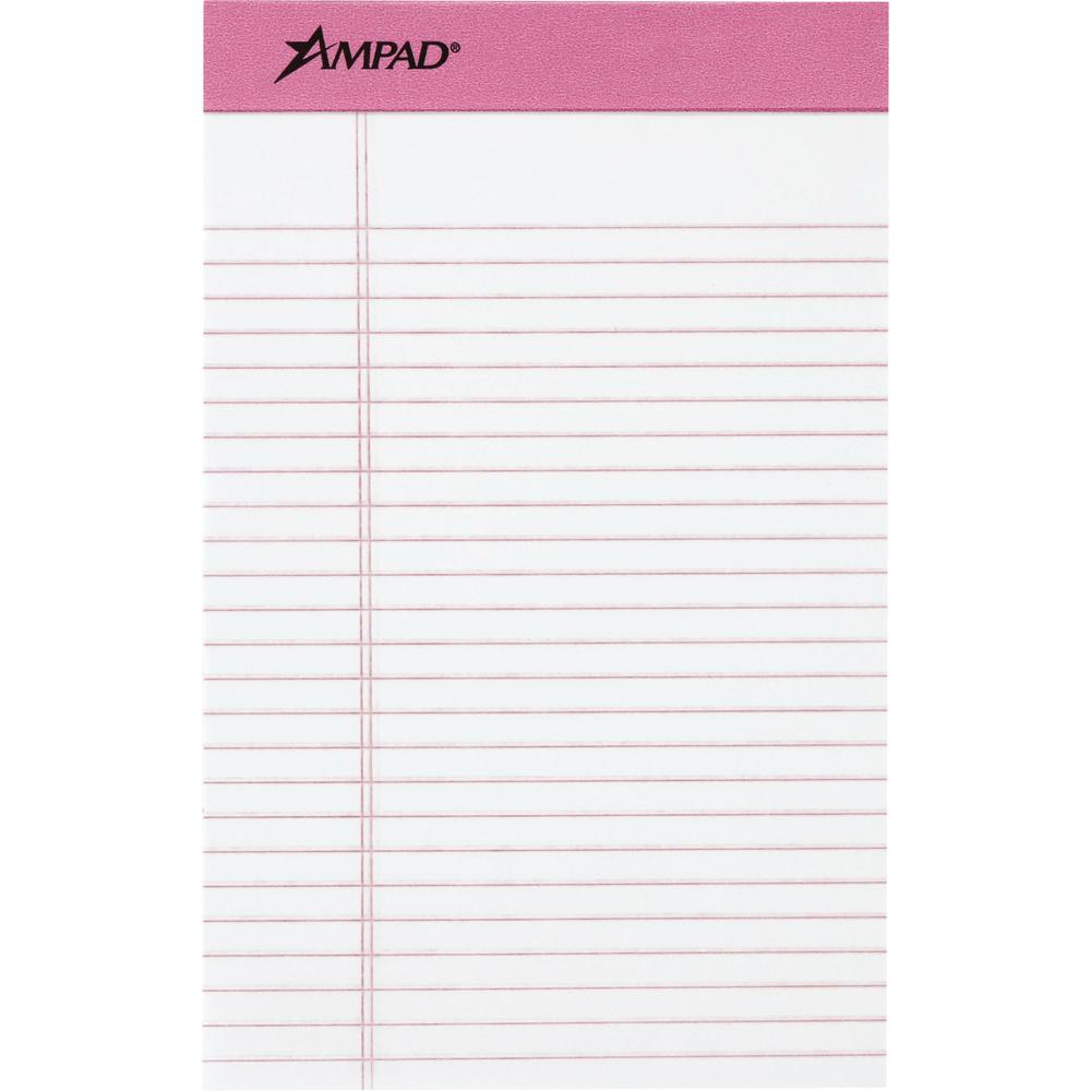 "TOPS Pink Binding Writing Pads - 50 Sheets - 0.28"" Ruled Pink Margin - 20 lb Basis Weight - 5"" x 8"" - White Paper - Pink Binder - Micro Perforated, Chipboard Backing, Heavyweight, Easy Tear - 6 / Pack. Picture 1"
