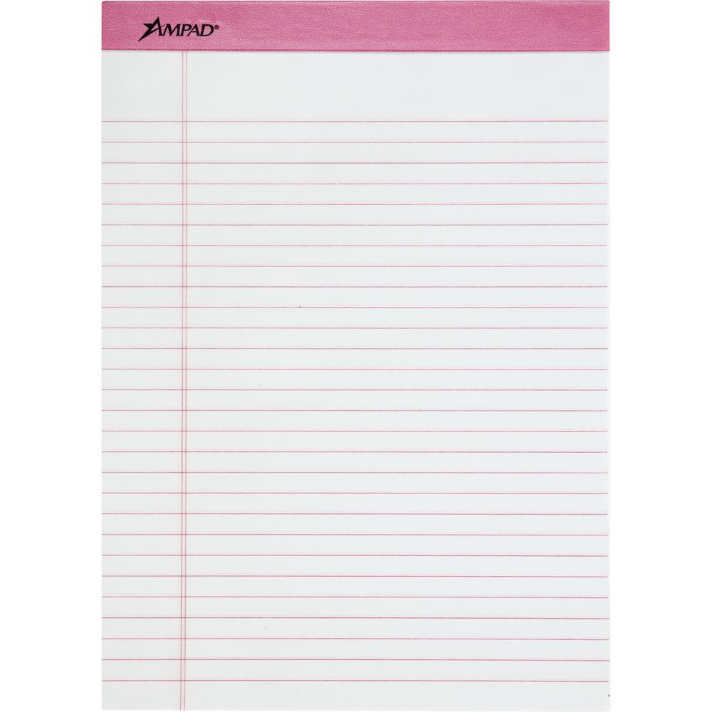 "TOPS Pink Binding Writing Pads - Letter - 50 Sheets - 0.34"" Ruled Pink Margin - 20 lb Basis Weight - 8 1/2"" x 11""8.5""11.8"" - White Paper - Pink Binder - Micro Perforated, Heavyweight, Chipboard Backin. Picture 1"