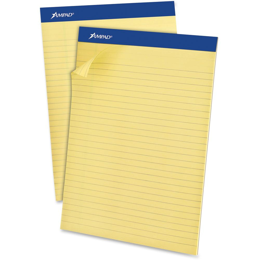 """Ampad Basic Slot-perforated Pads - 50 Sheets - Stapled - 0.34"""" Ruled - 20 lb Basis Weight - 8 1/2"""" x 11 3/4"""" - Yellow Paper - Canary Cover - Environmentally Friendly, Perforated, Chipboard Backing - 1. Picture 1"""